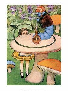 Postcard Alice in Wonderland | Blue Caterpillar