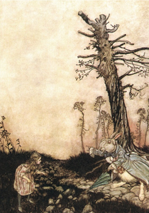 Postcard Alice in Wonderland | Alice and the White Rabbit