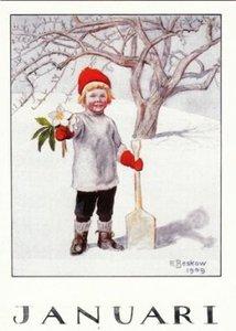 Elsa Beskow Postcard   January