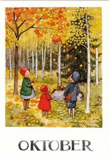 Elsa Beskow Postcard | Oktober