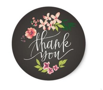 Thank You Circle Sealing Stamp Stickers   Flowers on Chalkboard