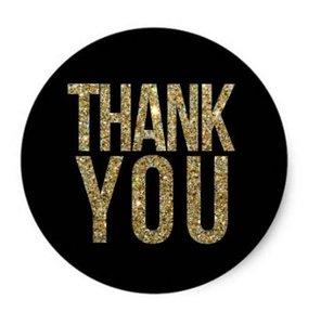 Thank You Circle Sealing Stamp Stickers | Black & Gold Glitter