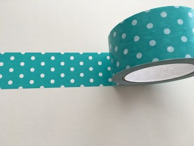 Large Adhesive PVC Decotape | Turqouise with White Dots