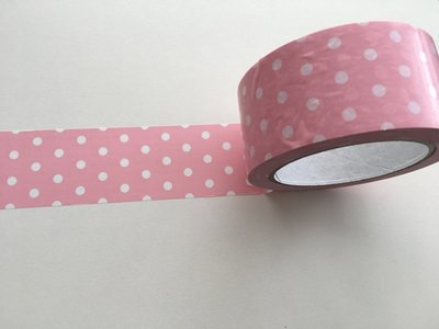 Large Adhesive PVC Decotape | Baby Pink with White Dots