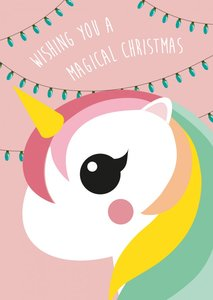 Studio Inktvis Postcard | Wishing you a magical christmas Unicorn