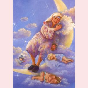 Postcard Fantasy Judy Mastrangelo | Man in the moon sleeping