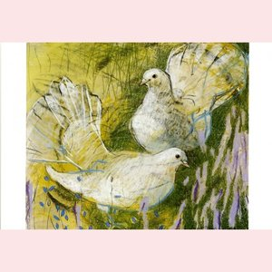 Postcard Loes Botman | White Pigeons