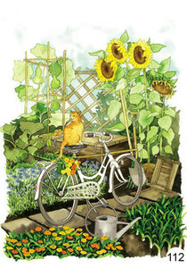 Inge Look Nr. 112 Postcards Garden | Cat on a bicycle