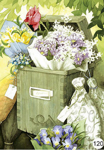 Inge Look Nr 120 Postcard Garden   Flowers in mailbox