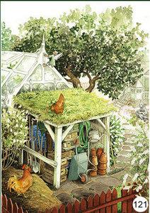 Inge Look Nr 121 Postcard Garden   Behind the greenhouse