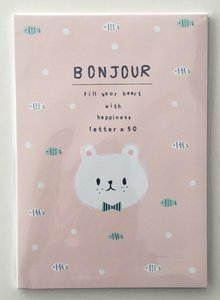 Bonjour Letter Paper Pad   Pink Bear and Fish