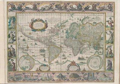 Museum Cards Postcard | Map of the world, Willem Jansz Blaeu