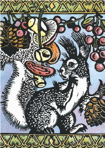 Postcard | Russian Woodcut Squirrels
