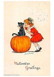Victorian Halloween Postcard | A.N.B. - Girl and black cat