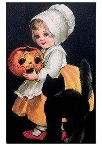 Victorian Halloween Postcard | A.N.B. - Meisje met een zwarte kat (A merry Halloween)