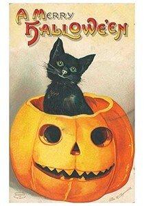 Victorian Halloween Postcard | A.N.B. - Zwarte kat zittend in een pompoen (A merry Halloween)
