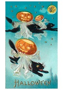 Victorian Halloween Postcard | A.N.B. - Halloween (zwarte katten en pompoenen)