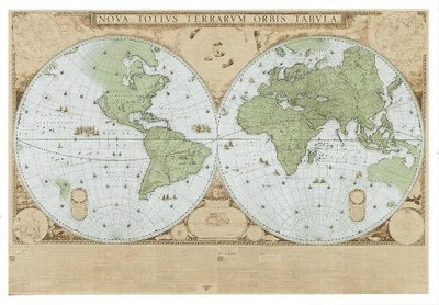 Museum Cards Postcard | Map of the world, Joan Blaeu