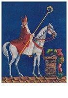 Postcard   A.N.B. - Sinterklaas met zwarte piet op het dak