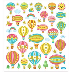 Seal Sticker with Glitter Foil | Hot Air Balloons