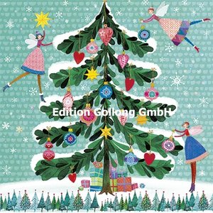 Mila Marquis Postcard Christmas | Angel decorate Christmas tree