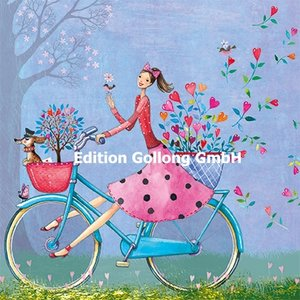 Mila Marquis Postcard | Woman with bicycle