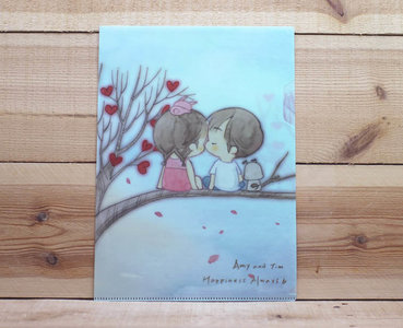 Amy and Tim Collection A4 Plastic File Folder | Heart Tree