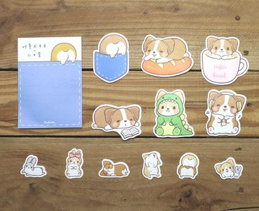 Corgi Dog Waterproof Stickers