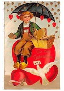 Victorian Valentine Postcard | A.N.B. - Jongeman met hartjes