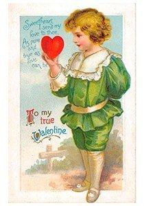 Victorian Valentine Postcard | A.N.B. - To my true valentine