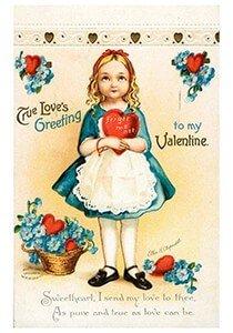 Victorian Valentine Postcard | A.N.B. - Meisje met een hartje in haar handen