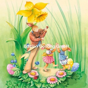 Nina Chen Postcard | Bunnies with a daffodil