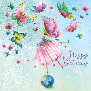 Nina Chen Postcard | Happy Birthday (woman with butterflies)