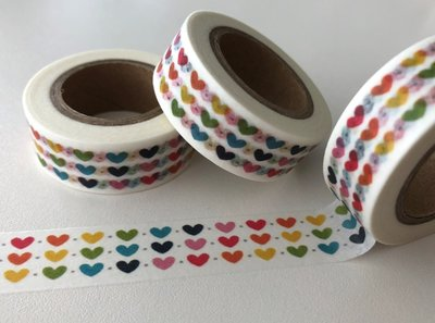 Washi Masking Tape | 3 rows of Rainbow Hearts
