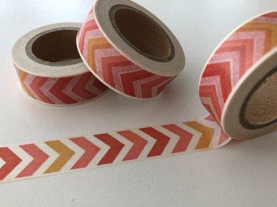 Washi Masking Tape   Orange/Red Chevron