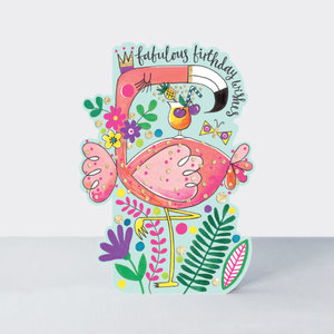 Rachel Ellen Designs Cards - Little Darlings - Fabulous Birthday Wishes Flamingo