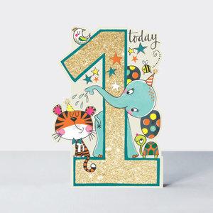 Rachel Ellen Designs Cards - Little Darlings - Age 1 Boy/ Elephant & Tiger