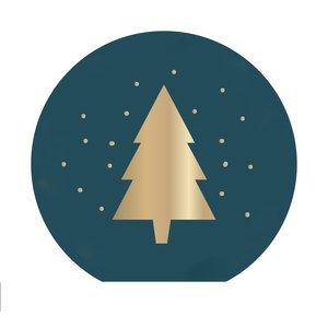 10x X-mas Stickers - Petrol Gold - Christmas Tree