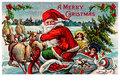 Postcard   Kerstman op slee met daarachter kinderen