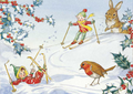 Postcard Molly Brett | Two pixies skiing with robin and rabbit looking on