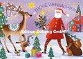 Mila Marquis Postcard | Frohe Weihnachten (Santa and deer)