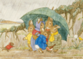 Postcard Margareth W. Tarrant | Shelter From The Rain