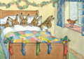 Postcard Molly Brett | Five Rabbits Tucked Up Warm
