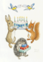 Postcard Molly Brett | Rabbit And Squirrel Holding Birthday Cake