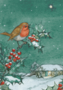 Postcard Molly Brett | A Robin Sitting On A Holly Tree Branch