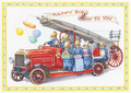 Postcard Audrey Tarrant | Fire Engine With Squirrel Firemen With Presents