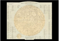 Postcard   Stieler's Hand-Atlas hand coloured map depicts the Moon