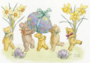 Postcard Molly Brett | Five Teddy Bears with Daffodils and Easter Eggs_