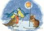 Postcard Molly Brett | Robin and Blue Tits Sing Carols_