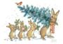 Postcard Molly Brett | A Rabbit Carrying A Christmas Tree _